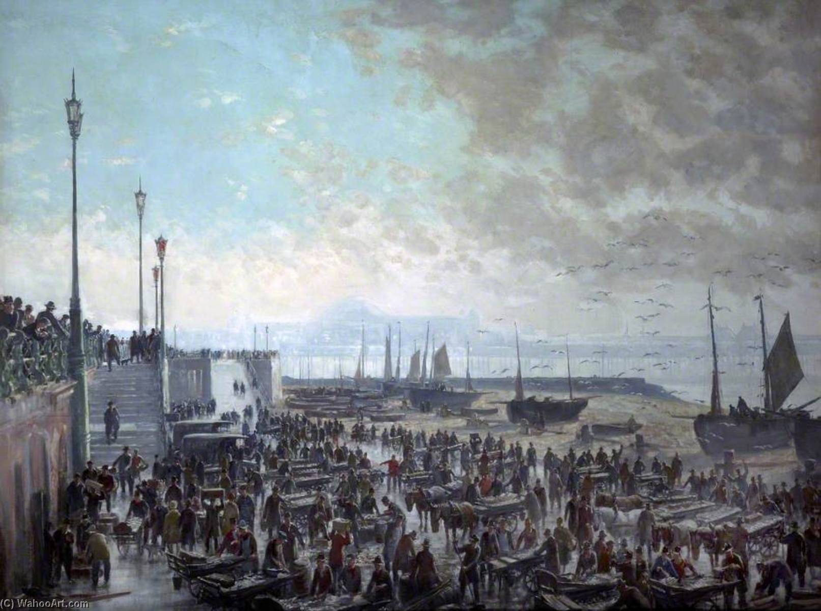 The Fish Market, Brighton, Oil On Canvas by Charles Ernest Cundall