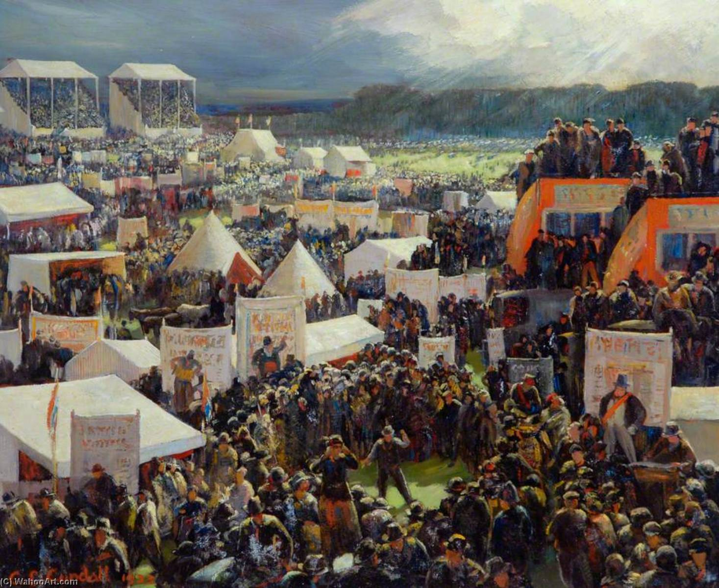 Derby Day, 1933 by Charles Ernest Cundall | Famous Paintings Reproductions | WahooArt.com