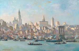 Charles Ernest Cundall - New York, from Brooklyn