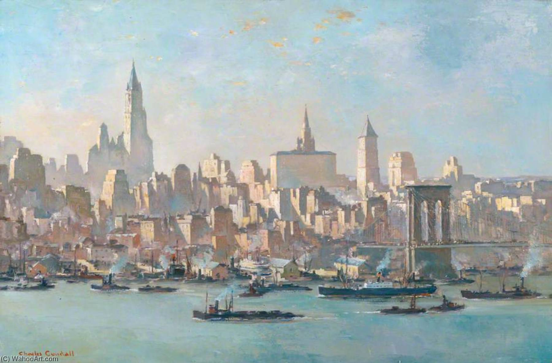 New York, from Brooklyn, Oil On Canvas by Charles Ernest Cundall