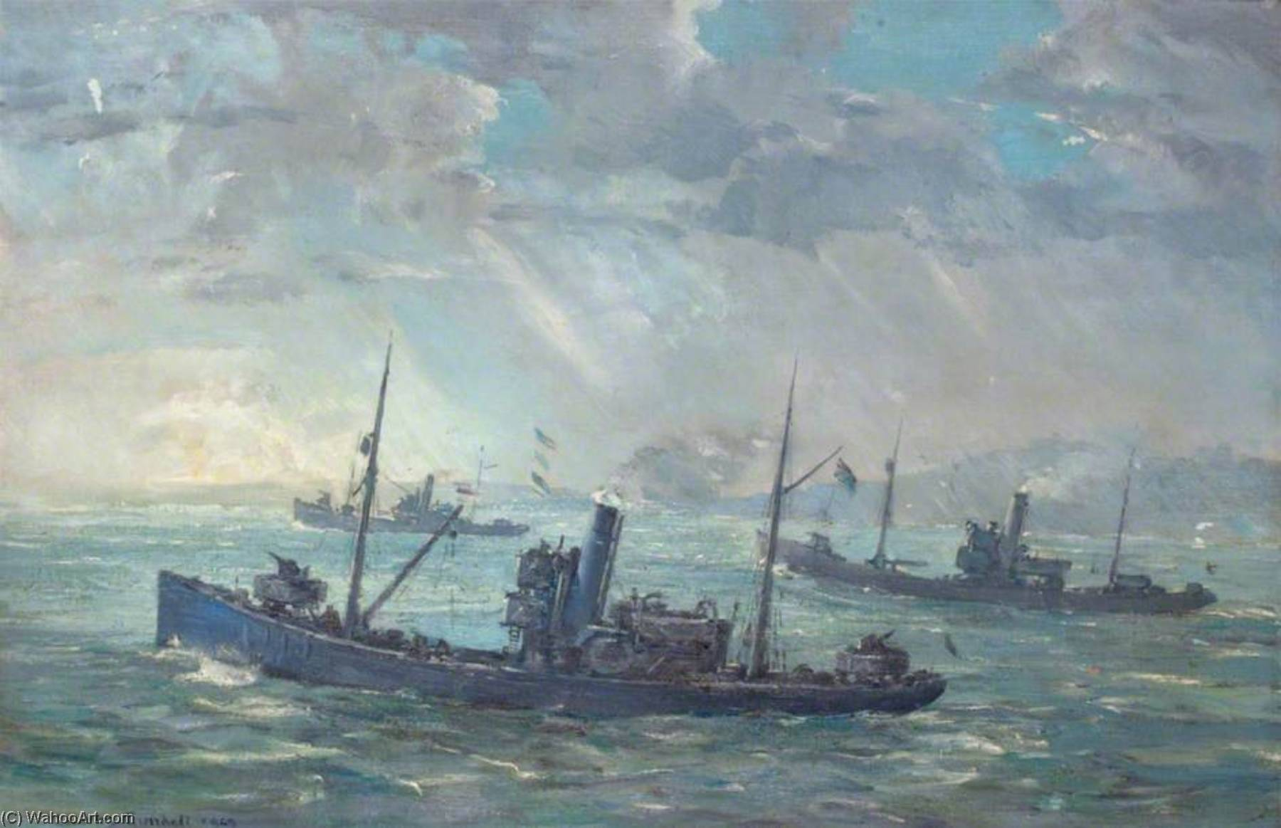 Minesweepers, Oil On Canvas by Charles Ernest Cundall