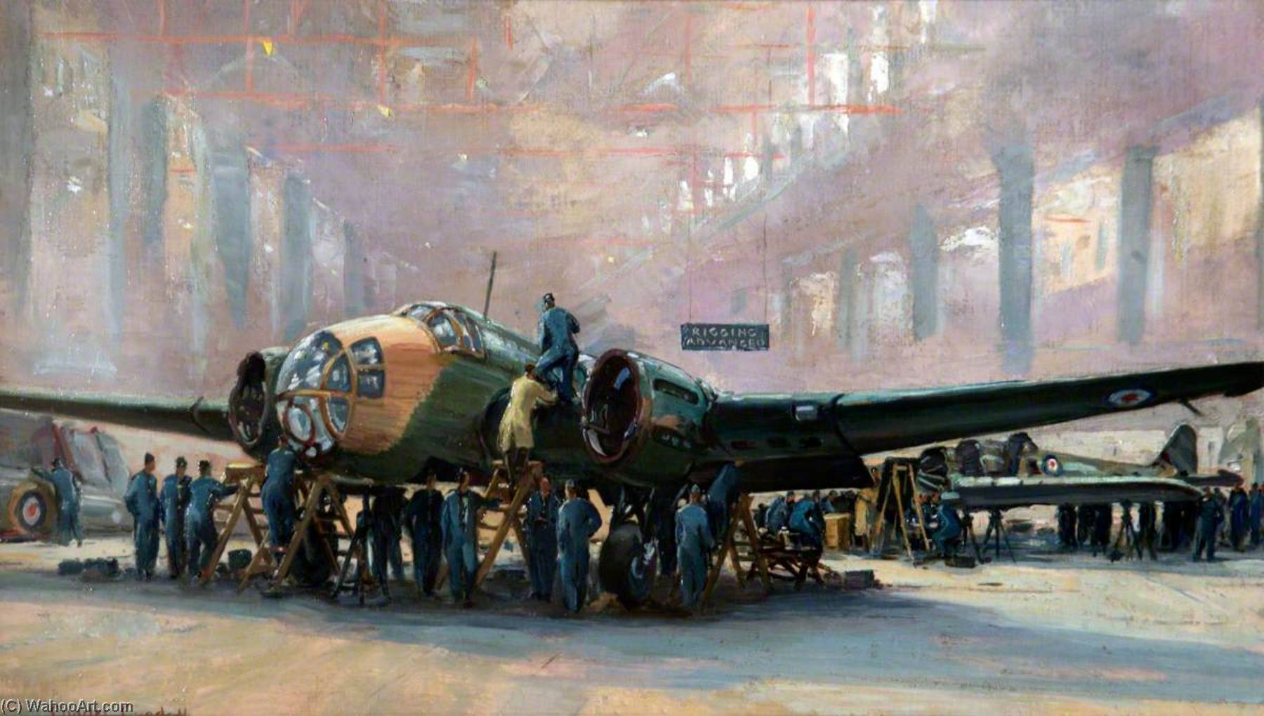 Advanced Rigging Instruction, RAF Training Command, Blackpool, Oil On Canvas by Charles Ernest Cundall