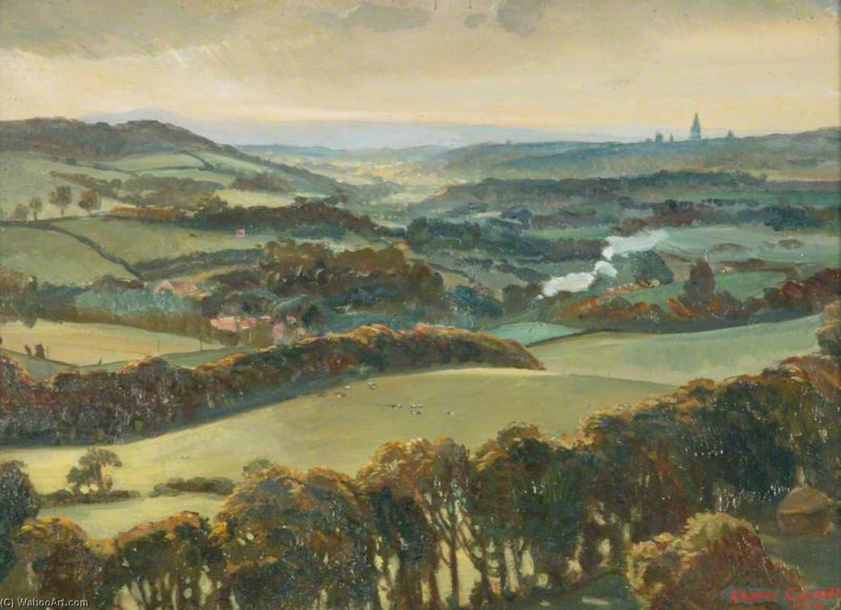 Surrey Hills, Oil On Panel by Charles Ernest Cundall