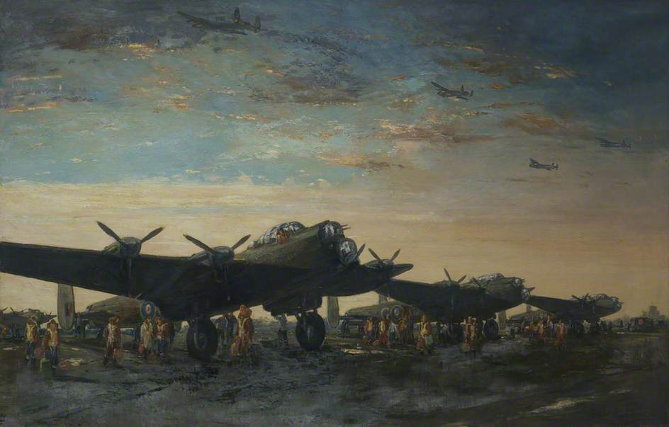 Lancaster Bombers, Oil On Canvas by Charles Ernest Cundall