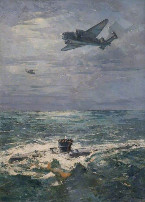 U570 Surrenders to a 269 Squadron Hudson Aircraft, 27 August 1941, Oil On Canvas by Charles Ernest Cundall