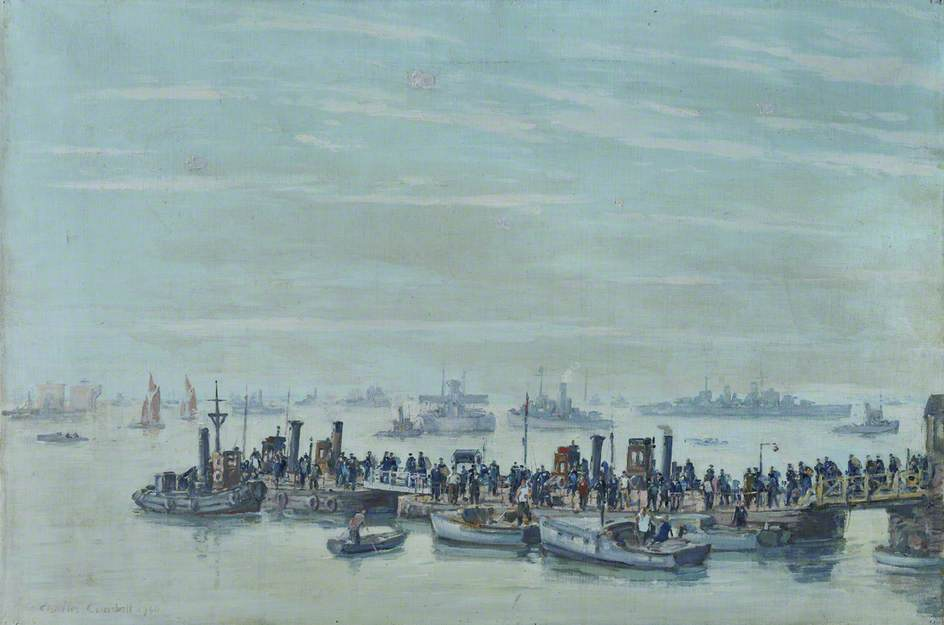 Liberty Boats at Sheerness, 1940, Oil On Canvas by Charles Ernest Cundall