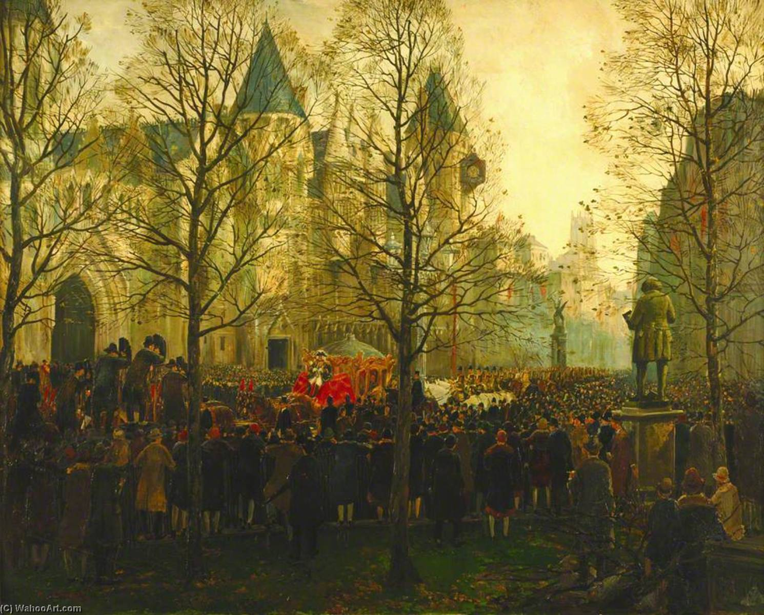 The Lord Mayor's Procession Arriving at the Law Courts, London, 1926, Oil On Canvas by Charles Ernest Cundall