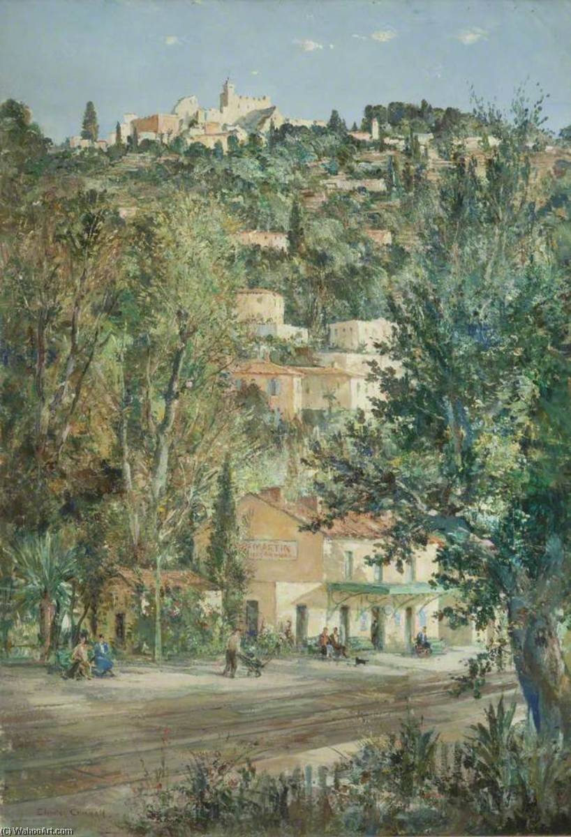 Rocquebrune Cap Martin Station, Oil On Canvas by Charles Ernest Cundall