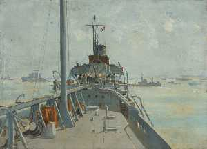 On Board a Minesweeper, Oil On Canvas by Charles Ernest Cundall (order Fine Art Poster on canvas Charles Ernest Cundall)