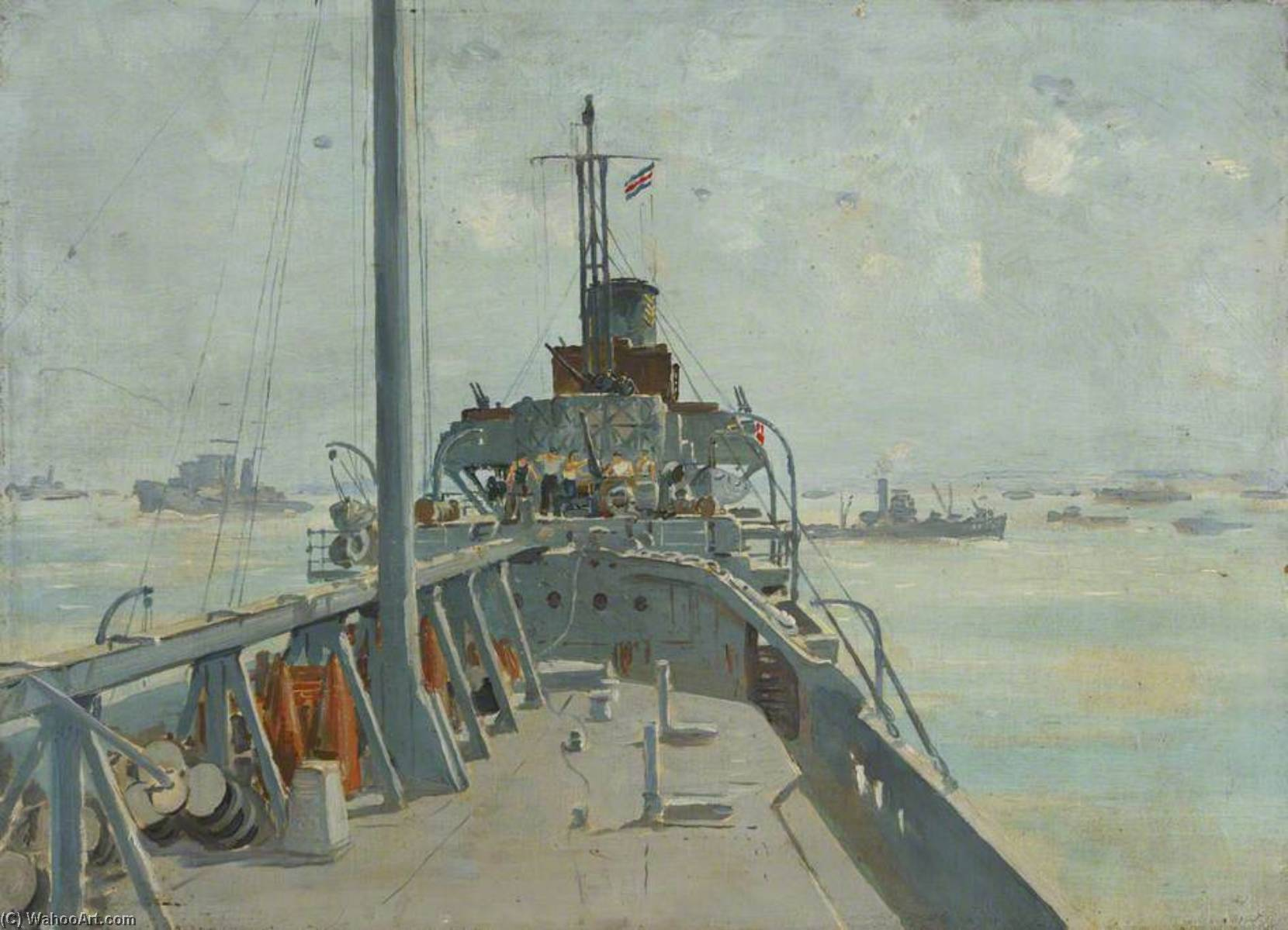 Order Painting Copy : On Board a Minesweeper by Charles Ernest Cundall | WahooArt.com