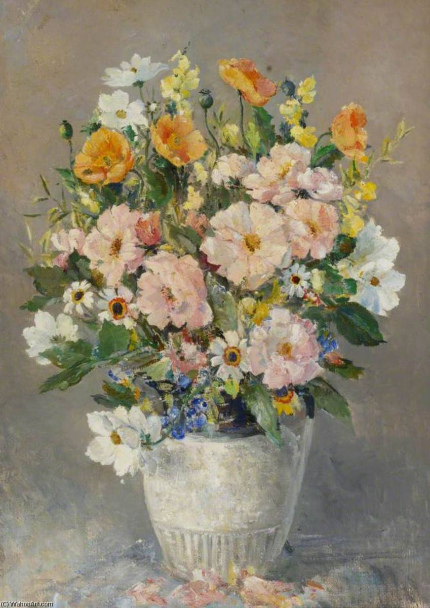 Still Life of Summer Flowers by Charles Ernest Cundall | WahooArt.com
