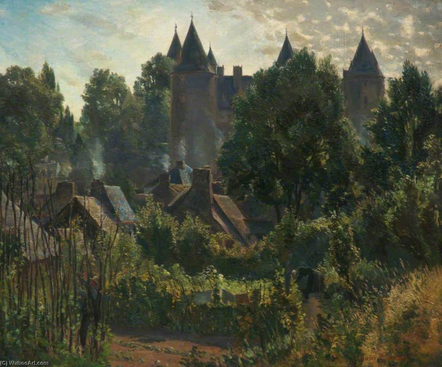 Early Morning, Josselin, France, Oil On Canvas by Charles Ernest Cundall