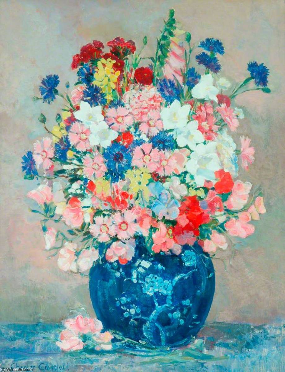 Flower Piece, Oil On Canvas by Charles Ernest Cundall