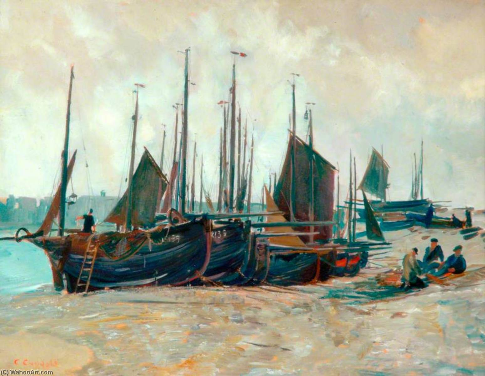 Low Tide, Oil On Canvas by Charles Ernest Cundall