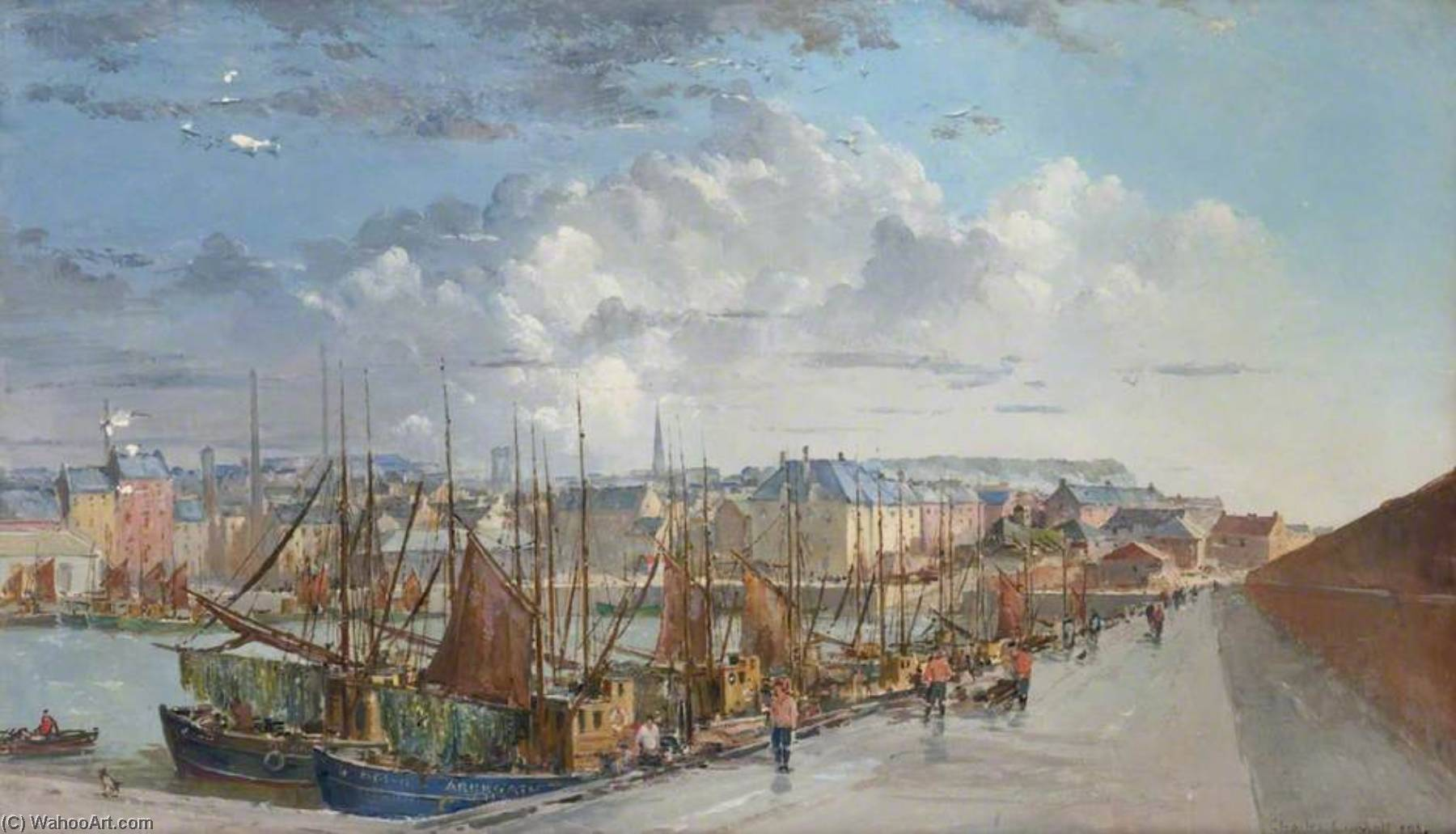 Arbroath Harbour by Charles Ernest Cundall | Famous Paintings Reproductions | WahooArt.com