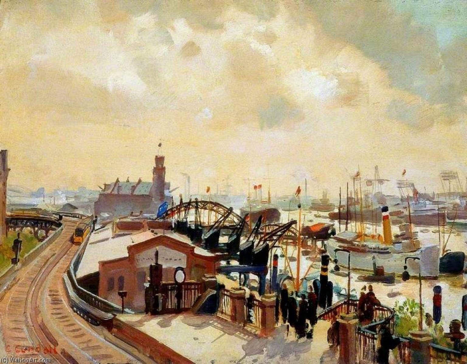 Hamburg Docks, Oil On Panel by Charles Ernest Cundall