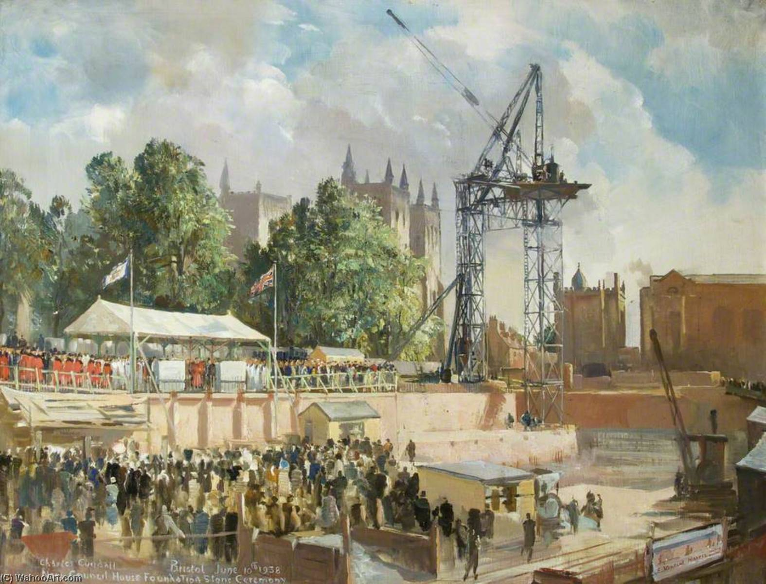 New Council House Foundation Stone Ceremony, 10th June 1938, Oil On Canvas by Charles Ernest Cundall