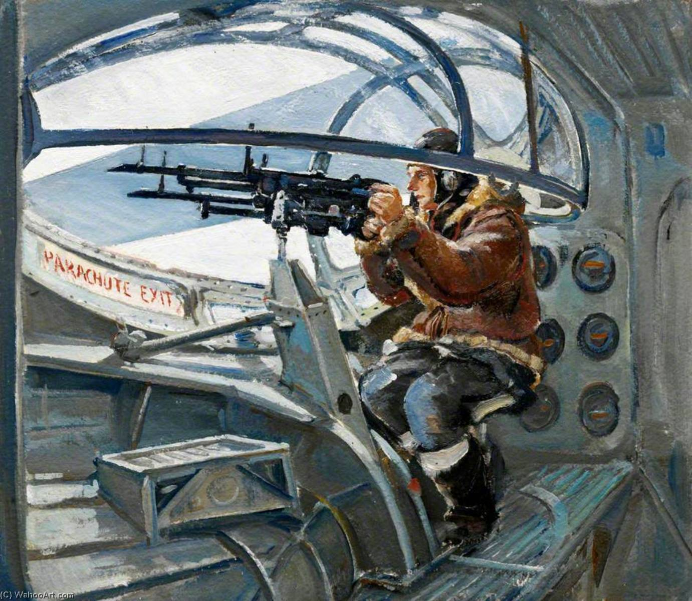 Air Gunner Prepared for Action by Charles Ernest Cundall | Famous Paintings Reproductions | WahooArt.com