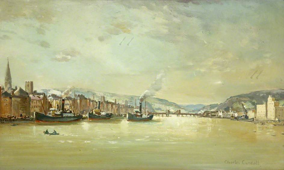 The Quay, Waterford, Oil On Canvas by Charles Ernest Cundall