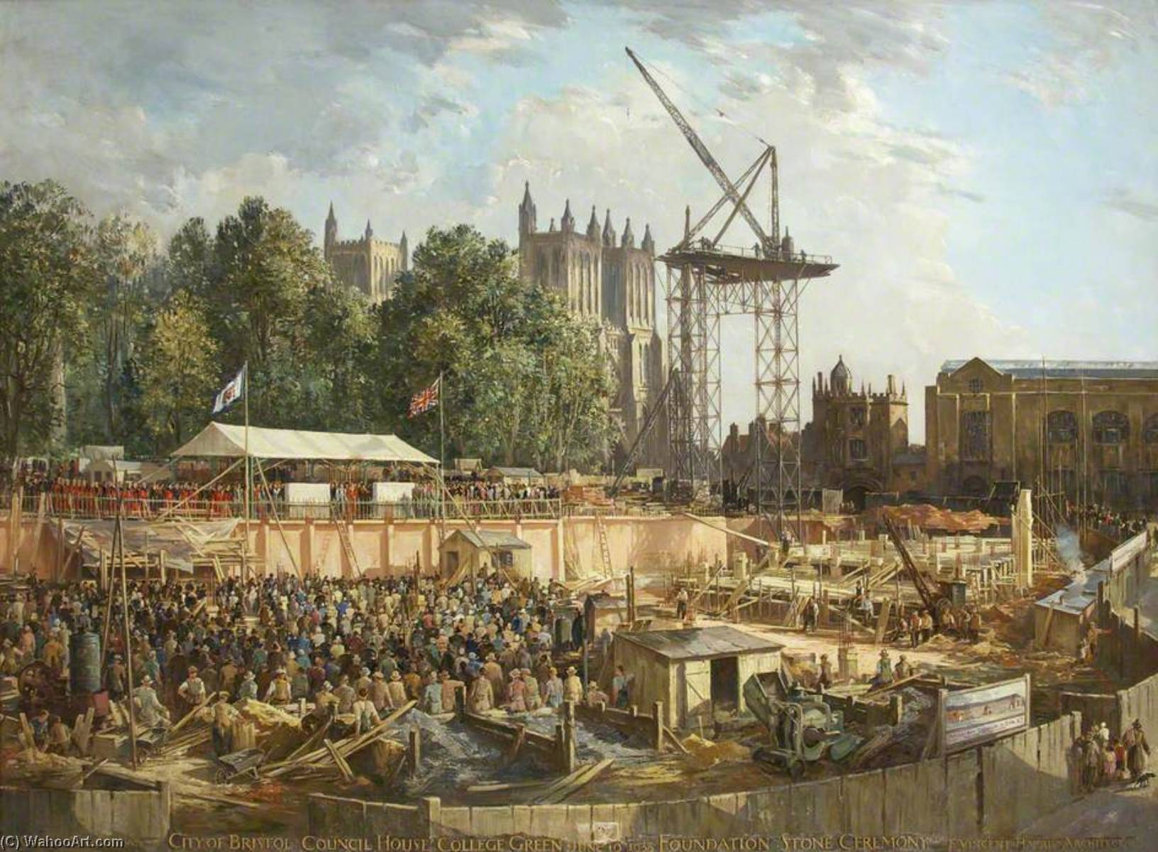 City of Bristol Council House, College Green, 10th June 1938, Foundation Stone Ceremony by Charles Ernest Cundall | Oil Painting | WahooArt.com