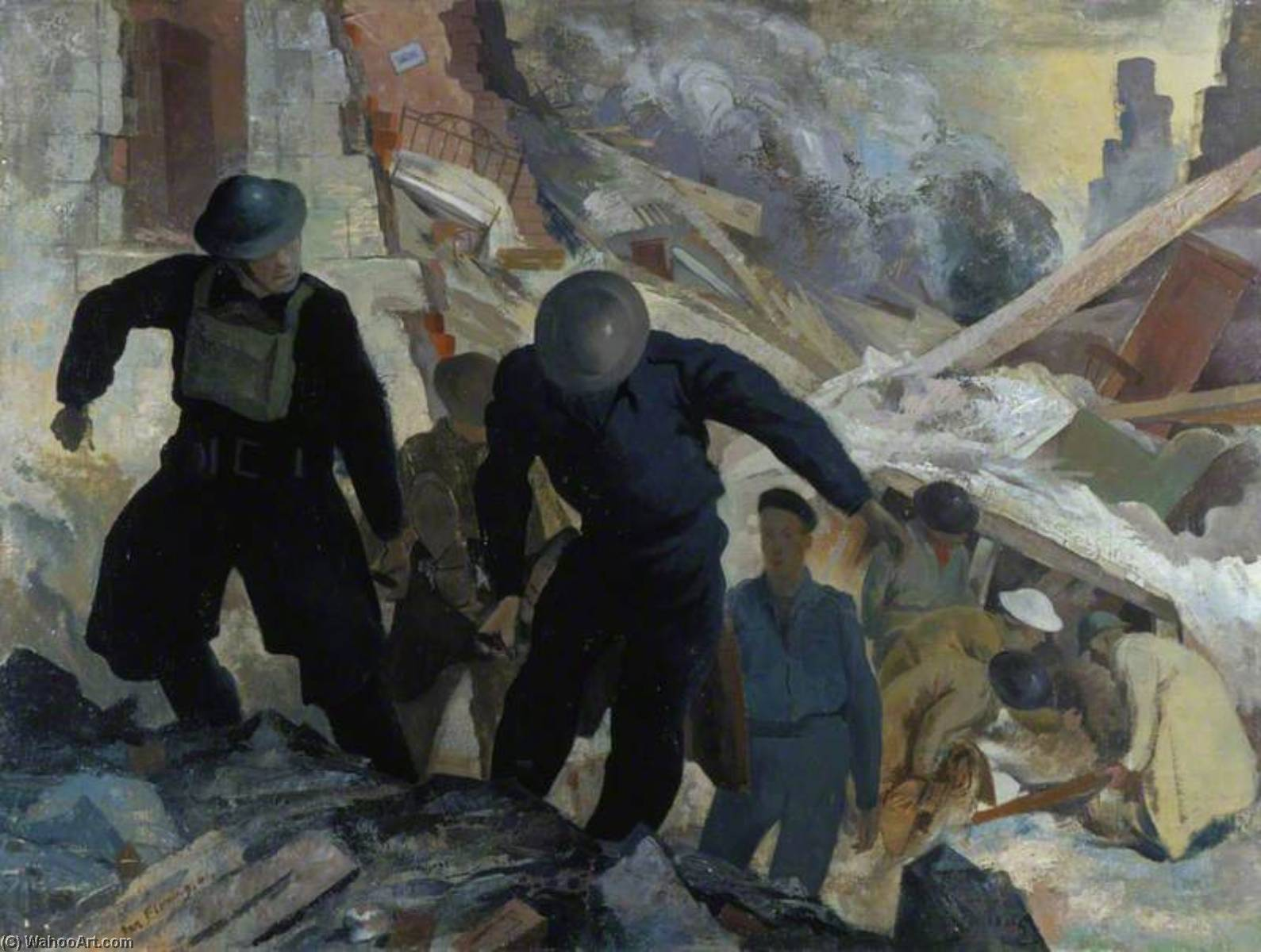Order Paintings Reproductions | Rescue Party, Kilmun Street (Maryhill, Glasgow), 1941 by Ian Fleming | WahooArt.com