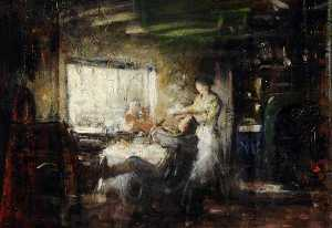 Frederick William Elwell - Study of a Kitchen Scene (detail)