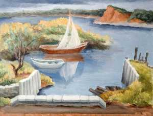 Elsie Barling - Coastal Scene with Sailing Boats
