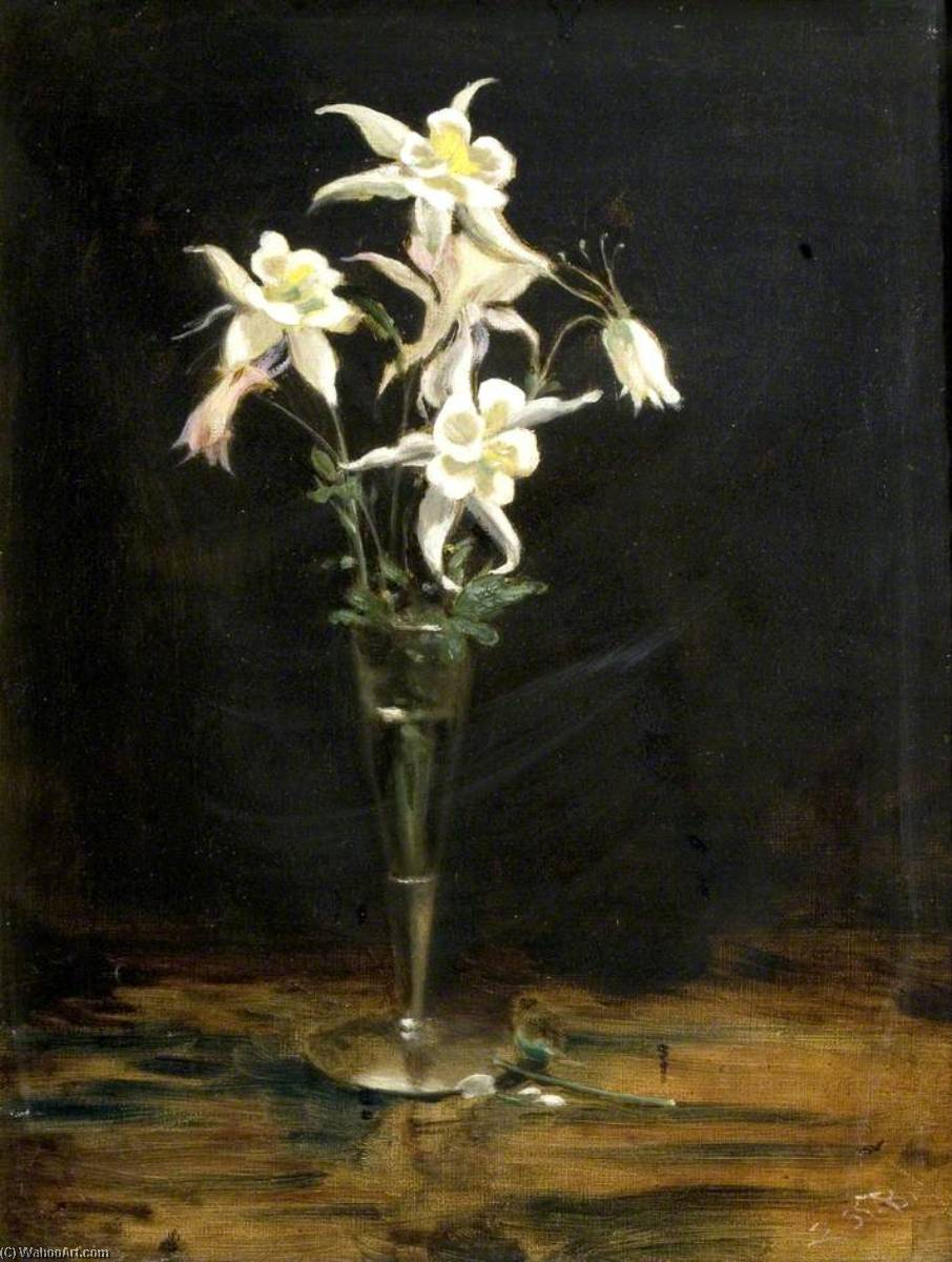 Aquilegia in Silver Vase, Oil On Canvas by Ethel Susan Graham Bristowe