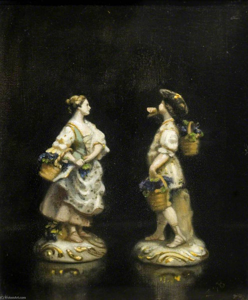 Two Dresden Figures, Oil On Canvas by Ethel Susan Graham Bristowe