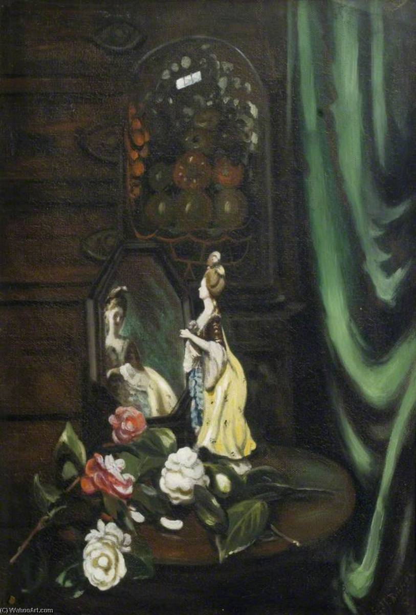 Figure in Green Curtain, Oil On Canvas by Ethel Susan Graham Bristowe