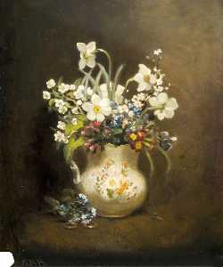 Ethel Susan Graham Bristowe - Bunch of Flowers in Painted Jug