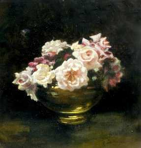Ethel Susan Graham Bristowe - Roses in Gold Vase