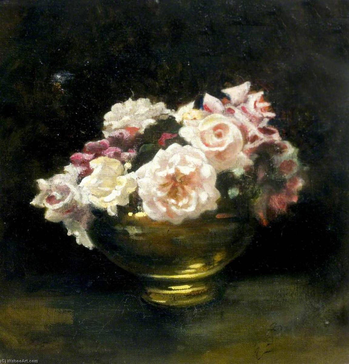 Roses in Gold Vase, Oil On Canvas by Ethel Susan Graham Bristowe