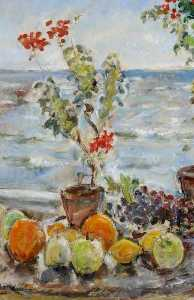 Ethel Walker - Geraniums and Fruit, Robin Hood's Bay, North Yorkshire