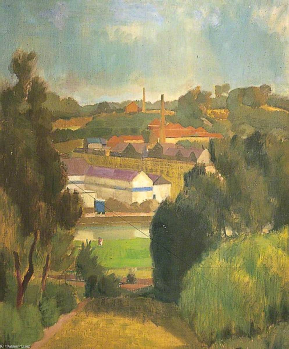 View across the River to Tovil, Kent, Oil On Canvas by William Townsend