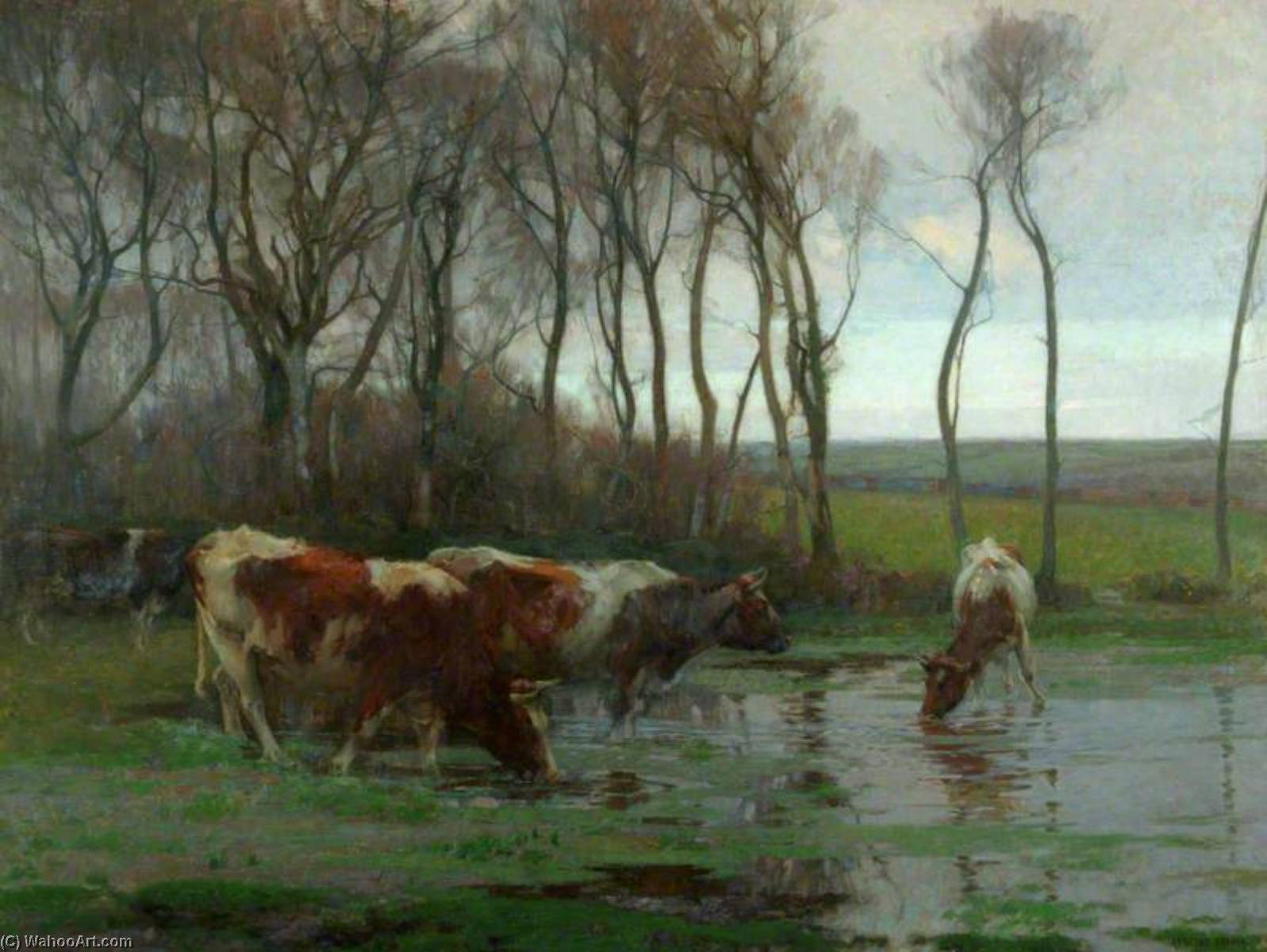 The Drinking Pool, Oil On Canvas by John Alfred Arnesby Brown