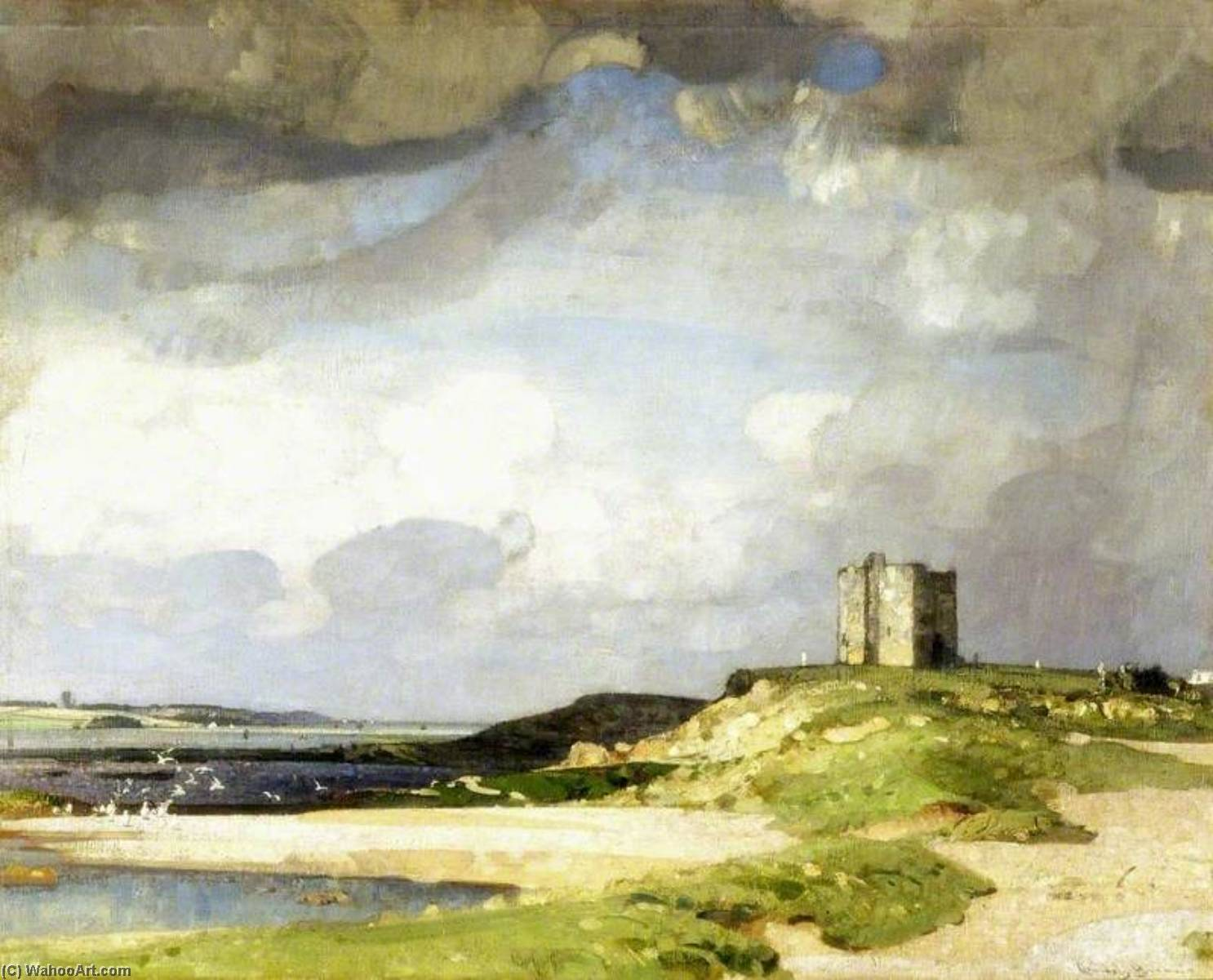 The Watch Tower, Oil On Canvas by John Alfred Arnesby Brown