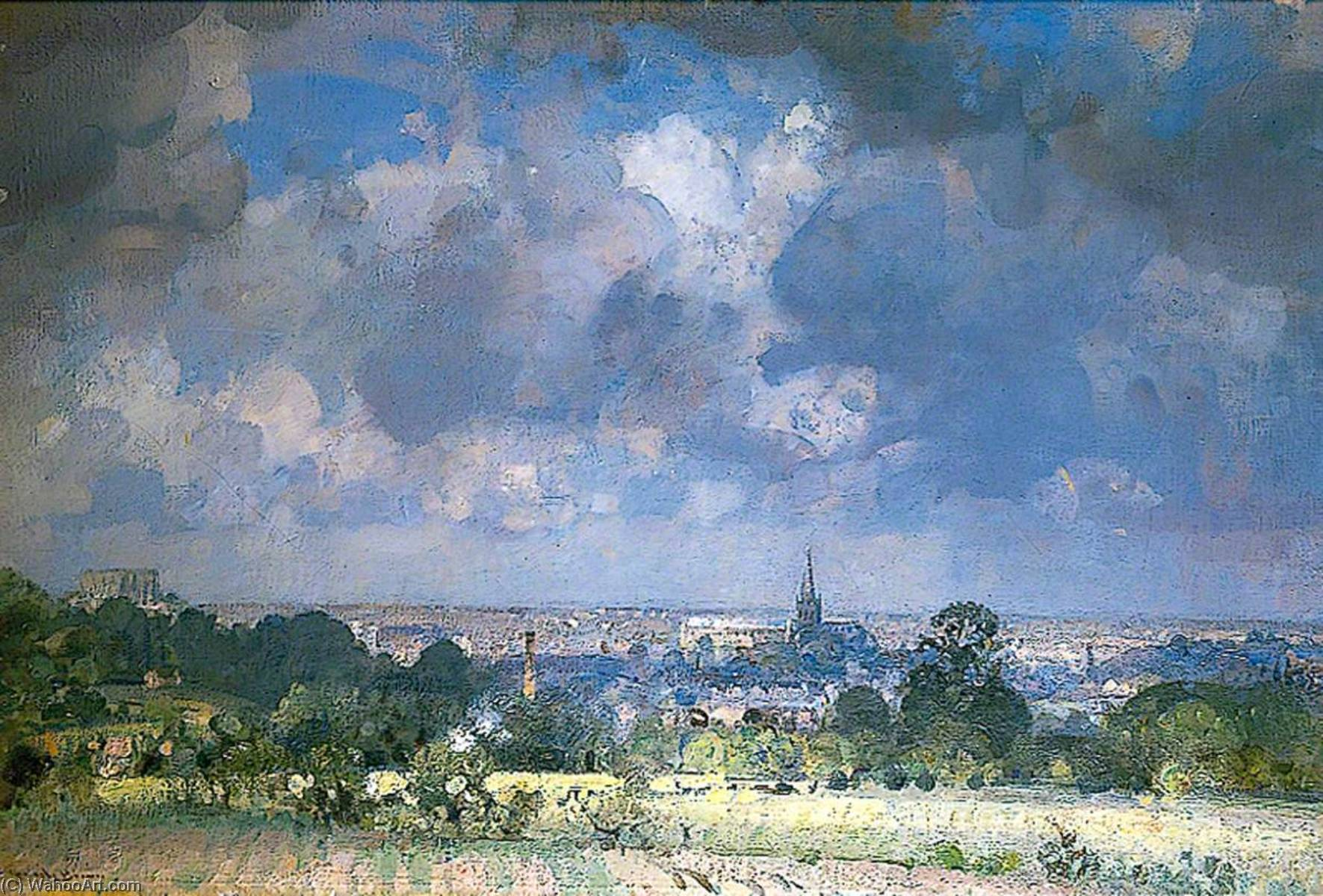 View of Norwich from the Bungay Road, Norfolk, Oil On Canvas by John Alfred Arnesby Brown