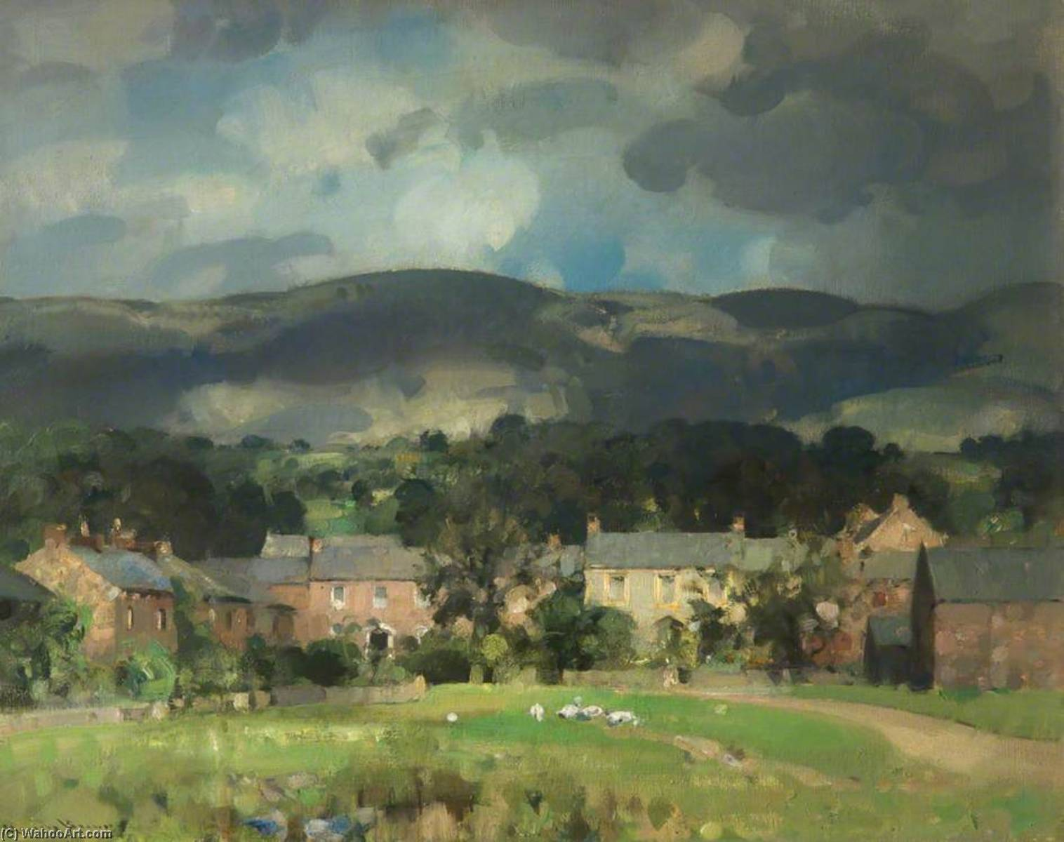 A Fellside Cumberland Village, Oil On Canvas by John Alfred Arnesby Brown