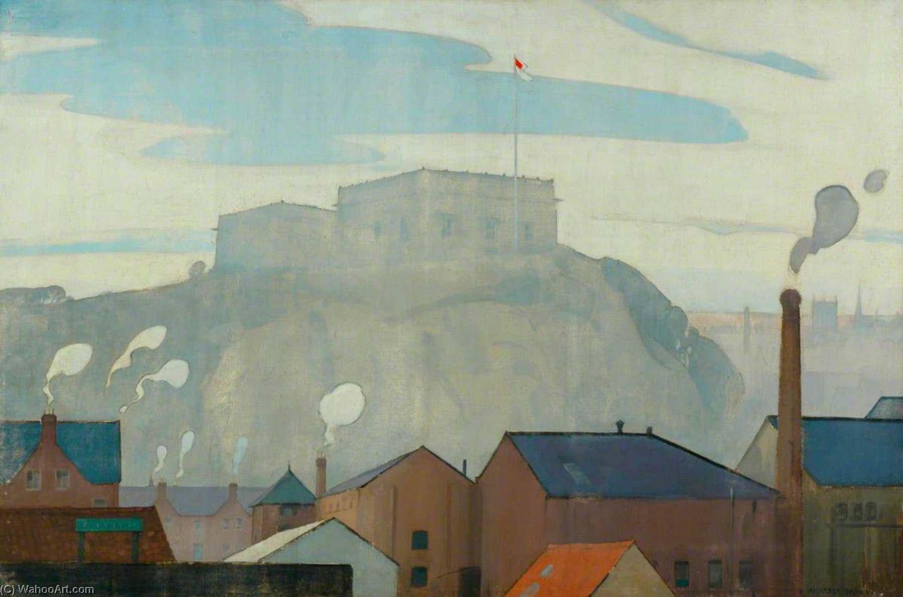 Nottingham Castle The Centre of Medieval England (London, Midland and Scottish Railway poster artwork), Oil On Canvas by John Alfred Arnesby Brown