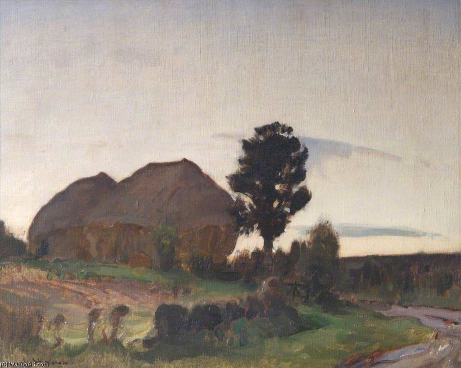 Haystacks, Evening, Oil On Canvas by John Alfred Arnesby Brown