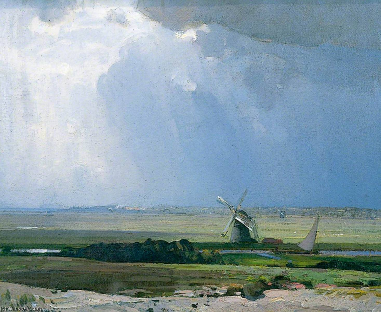 The Dutch Windmill by John Alfred Arnesby Brown | WahooArt.com