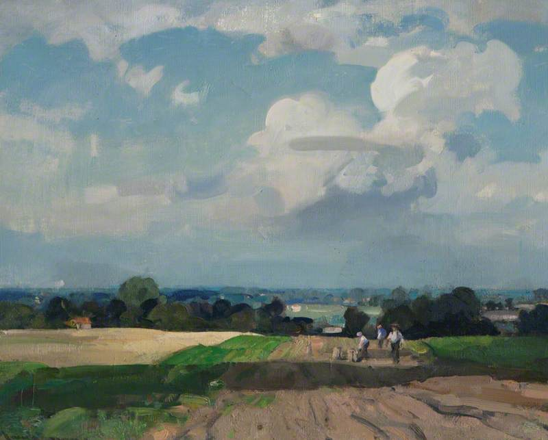 A Norfolk Landscape with Potato Pickers, Oil On Canvas by John Alfred Arnesby Brown
