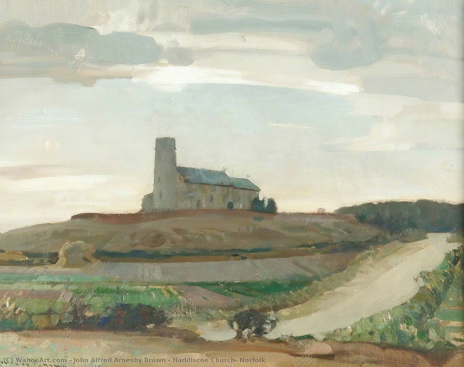 Haddiscoe Church, Norfolk, Oil On Canvas by John Alfred Arnesby Brown