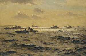 Norman Wilkinson - The Life Line A Convoy at Sea
