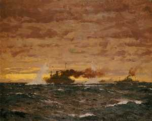 Norman Wilkinson - The Jervis Bay Action, 5 November 1940