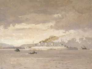 Norman Wilkinson - The Passenger Liner 'Queen Mary' Raising Steam
