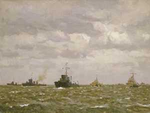 Norman Wilkinson - D Day Sweeping Ahead of the Destroyers, Early Morning, 6 June 1944