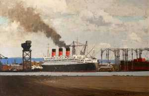 Norman Wilkinson - Fitting Out RMS 'Queen Mary' at Clydebank, 1936