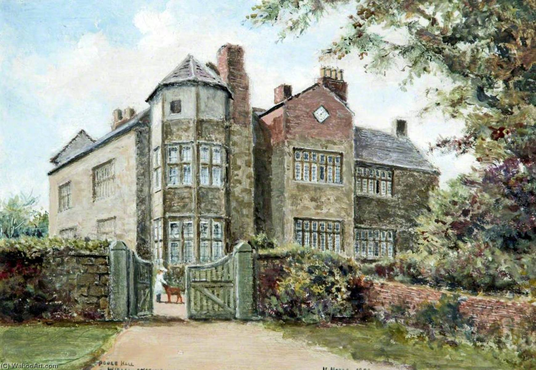 Poole Hall, Wirral, 1899 by Harold Hopps | Famous Paintings Reproductions | WahooArt.com